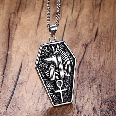 Mens Necklaces Stainless Steel Mystical Egypt Coffin Amulet Anubis Ankh Pendant Necklace Vintage Collares Collier Men Jewelry