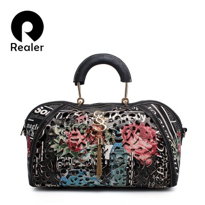 New brand Realer retro women floral print shell bag hollow out bags handbags artificial leather tote bag female tassel bag