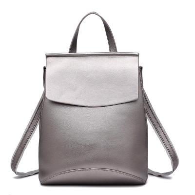 Fashion Girls Black Leather Backpack Brand Quality White Small Casual School Bag Teenage Women Rucksack mochila Silver XA216H