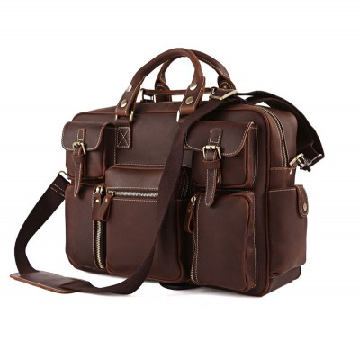 Luxury Crazy Horse Genuine Leather Vintage Handmade Men's Brown Shoulder Briefcases Laptop Bag Large travel Bags