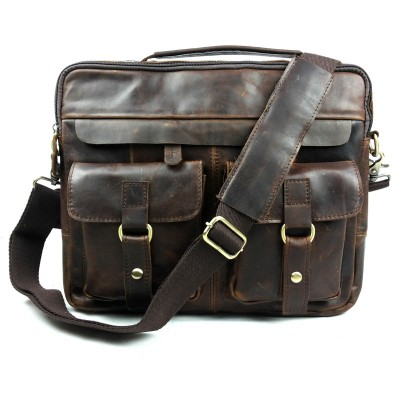Vintage Genuine Crazy Horse Leather Messenger Bag Brown Many Pockets Weekend Shoulder Bags Men's Oortable Laptops Tote