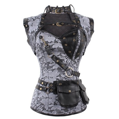 Freee Shipping Vintage Silver Brocade Steampunk Corset and Jacket  Waist  Women Gothic Bustier