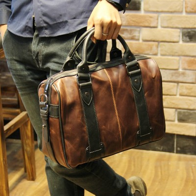 2019 Hot men bag crazy horse leather men's handbags casual business shoulder bag briefcase messenger bags laptop