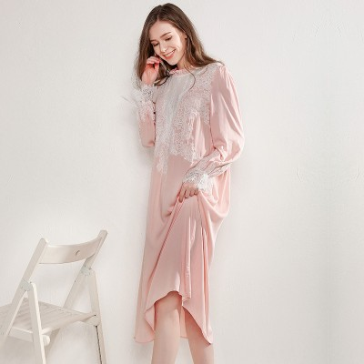 Long Nightgown Vintage Pink Long Sleeve Night Dress Sleepwear Casual Sleep Lounge Suit Home Clothing Women Viscose Nightdress