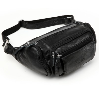 TIDING Utility pouch Money holder Shoulder Black leather waist pack Mens casual bag 3046R