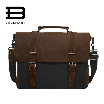 BAGSMART 2019 Men's Shoulder Bags Canvas Leather Briefcase Vintage Satchel School Shoulder Messenger Bags Fits 15'' Laptop Bag