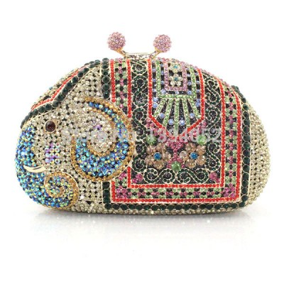 Handmade Crystal Ladies Bridal Bags Elephant shape new arrival hot selling evening clutch bags