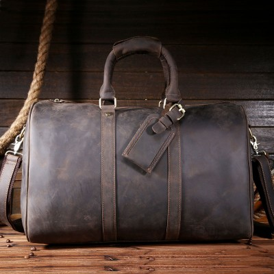 High Quality Crazy Horse Genuine Leather Travel duffle Large Vintage Retro Genuine Leather Weekend Bag Men's Tote Handbag 8151