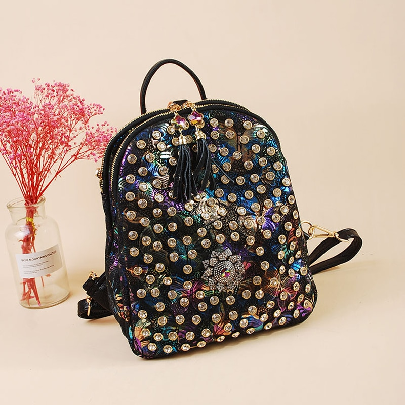 64d4d3560188 2019 New Fashion Cute Women Backpacks Causal bags High Quality Rivet Female  shoulder bag PU Leather Diamonds small Backpacks for Girls