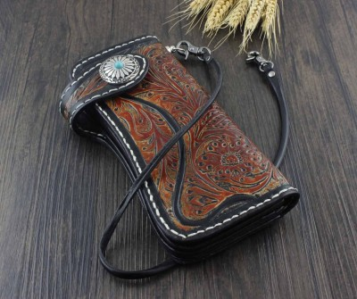 Mens Handmade Vintage Biker Trucker Long Leather Carved Wallet Purse W Chain