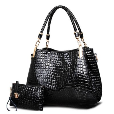 kit bag  brand crocodile women totes  lady handbag+pursewallet carteras mujer big capacity black white shoulder bag 2bagssets