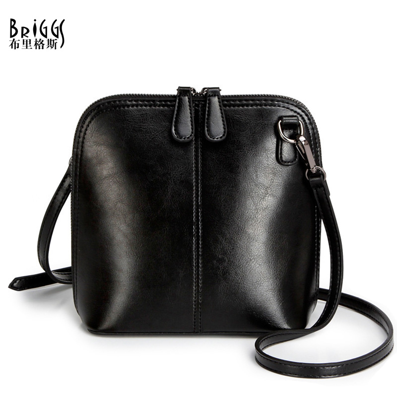 6eaa1373cc79 ... BRIGGS Fashion Women s Genuine Leather Shoulder Bags Vintage Women  Shell Messenger Bag 2017 Designer Brand Small Crossbody Bags. Image 1