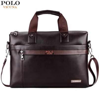 VICUNA POLO Promotion Simple Dot Famous Brand Business Men Briefcase Bag Luxury Leather Laptop Bag Man Shoulder Bag bolsa maleta