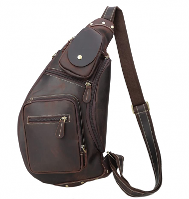Hot ORIGINAL Polare kettle Cool Real Leather Cross Body Sling Bag Chest Bag Backpack Large with YKK Zippers