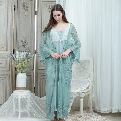 Lace Robe Gown Set Women Long Nightgowns Vintage Sleepwear Elegant Loose Robe Set European Classical Robes Pretty Ladies Gift
