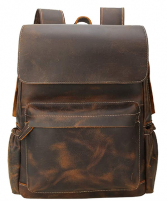 Brand Original Genuine Leather Backpack 14 Inch Laptop Backpack Vintage Travel College School Bag Daypack for Men