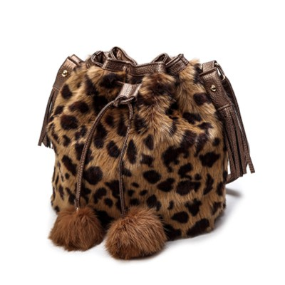 Sexy Bags 2019 New Arrival Rabbit Fur Shoulder Bags Fashion Women's Favorite  Messenger Bags Black Grey Sexy Leopard Lady's Bags