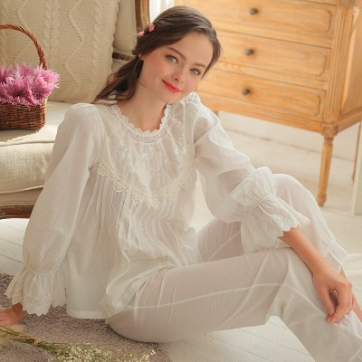 Sleep Lounge Women Pajama Set Plus Size Summer Autumn Long White Cotton Lingerie Two Pieces Sleepwear Pijamas De Las Mujeres