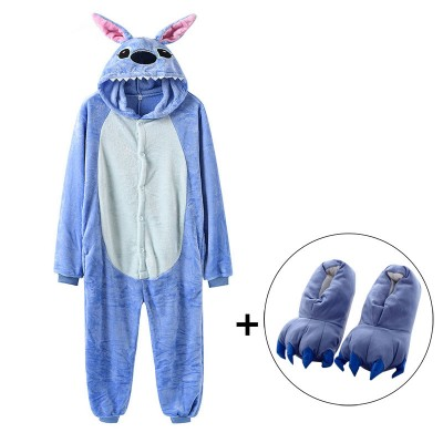 Stitch Onesies With Slippers Kigurumi Adult Women Men Blue Cute Animal Pajama Suit Jumpsuit Carnival Party Funny Anime Outfit