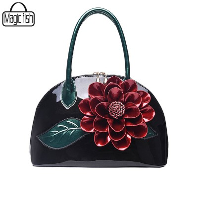 Big Flower Women Leather Handbags Luxury Women Handbag Famous Brand Female Tote Women Shoulder Bag Vintage Women Bag ZCP187