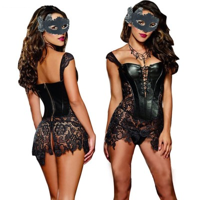 Sexy Lingerie with G-string Sets Women Faux Leather Lace Burlesque Steampunk Corset Dress Waist Gothic Bustier Corpet Plus Size