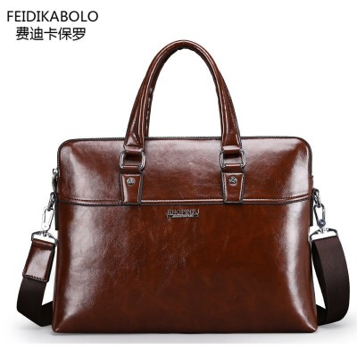 FD BOLO Brand Bag Men Leather Briefcase Portadocumentos Men Laptop Tote Bag Mens Portafolios Maletin Hombre Men Messenger Bags