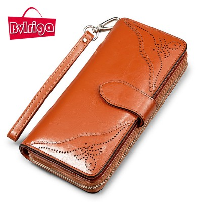 BVLRIGA Genuine leather wallets women clutche bag long women purse famous brouds coin pocket high quality credit card holder A83
