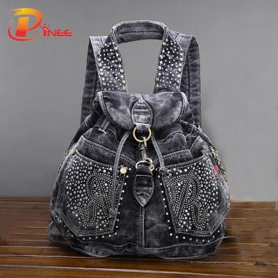 American apparel denim Backpacks Women's Shoulder Bag Vintage Causal Travel Bags black blue denim backpack