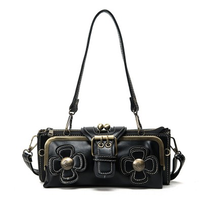Vintage Gothic evening clutch clip 3D flower bag shoulder crossbody handbag steampunk womens messenger bag leather purse wallet