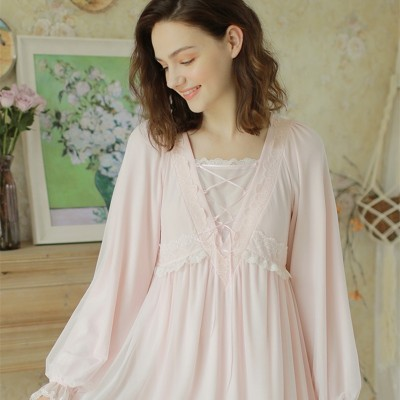 Women Vintage Night Gown Pink Long Dress White Lace Sleepwear Elegant Homewear Night Dress Long Sleeve Pregnant woman Nightgown