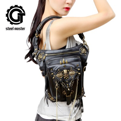 Steampunk Leg Bags|Steampunk Thigh Bags Casual Fanny Bag Unisex Skull PU Leather Messenger Bags Fashion Travel Wasit Bag Rivets Shoulder Bag