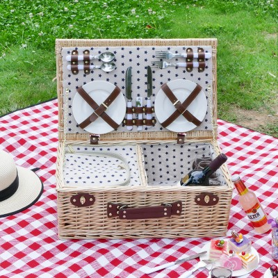Outdoor Large Wicker heat preservation Picnic Basket for 4 People Portable handmade Picnic Basket Mat for Family Weekend Tour