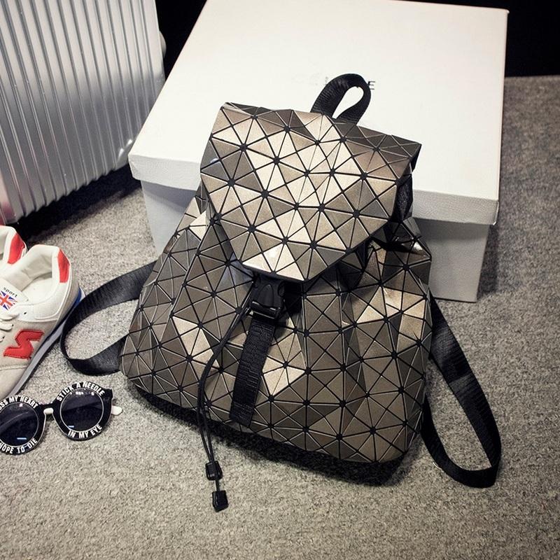 New Fashion Diamond Lattice BaoBao Bag Backpack Geometric Teenage Women Bag  daypack Geometric Joint Rucksack Girls School bag cacb08dd75541