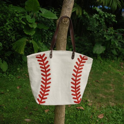 Wholesale Blanks Canvas Material Tote Bag with PU faux leather Handles White with Red Color DOM103281