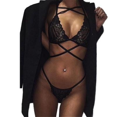 2017 Newest Europe Black Selling Sexy Lace Tulle Underwear Nightwear Deep VNeck Back Dress Nightwear Bra+Sexy Lingerie Sleepwear