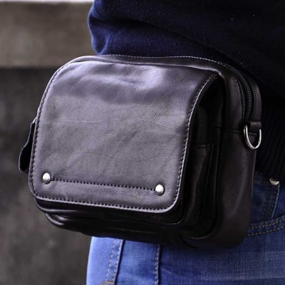Leather Fanny Pack Oil Wax Cowhide Genuine Leather Fanny Waist Pack Men Casual Hip Belt Cell Phone Case Purse Black Small Messenger Shoulder Bag
