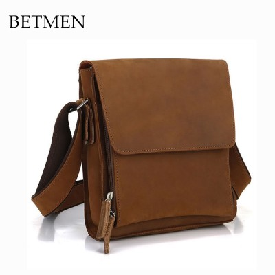 BETMEN New Fashion Crazy Horse Leather Single Shoulder Bag Small Vertical Crossbody Messenger Bags
