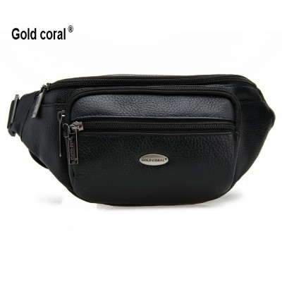 Gold coral genuine leather waist pack male cowhide messenger bags for men waist bags cross-body wallets purse male fanny pack