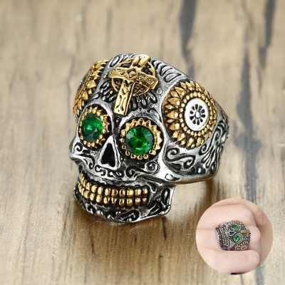 Mens Mexican Sugar Skull Ring Punk Green Eyes Gold Teeth Rings with Gothic Cross for Men Stainless Steel Biker Male Jewelry