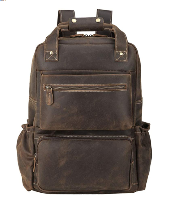 Original Brand Mens Leather Backpack 15.6 inch Laptop Backpack Large Capacity Business Travel Office Daypacks with YKK Zipper