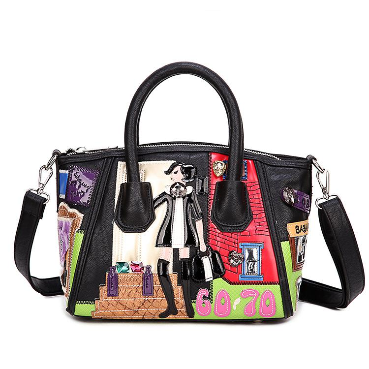 cff094d7e572 ... PU Leather Women Embroidery Cartoon Charactor Handbags Casual Lady  Pattern Women Shoulder Bag Female Tote Bags. Image 1