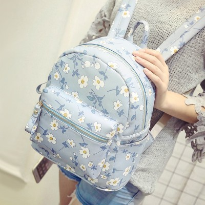 2019 New women female backpack Cute Korean style Flower shoulder bag womens backpack College wind PU Leather Backpack for girls