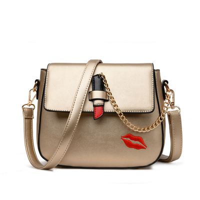 Sexy Bags Luxury Famous Brand Chain Crossbody Bags for Women Ladies Lipstick Design Lock Handbags Sexy Lips Embroidery Women Messenger Bag