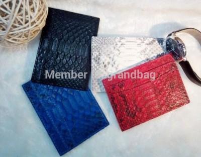 Genuine python skin leather card holder slim wallet , snake leather credit card holder