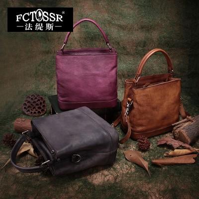 2019 vintage handmade handbag genuine leather casual messenger bag women handbag large capacity