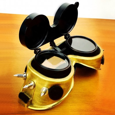 Original Gold Black Steampunk Goggles Sunglasses Flip