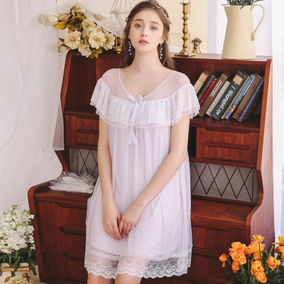 2019 Sexy Sleepwear Dress Sexy Lace Summer Nightdress Woman Lace Short Sleev  Nightgowns V neck Nightgown Lovely Temptation