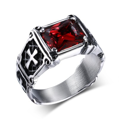 Mprainbow Vintage Mens Rings Stainless Steel Red Large Crystal Dragon Claw Cross Ring Band Gothic Biker Knight Punk Jewelry 2019