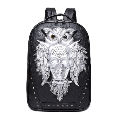 Gothic Steampunk Unique backpack cool bag steampunk fashion Skull Backpack 3D Leather Backpack Computer Laptop Backpack Owl Women Men Travel Bags School Punk Rivets Bags