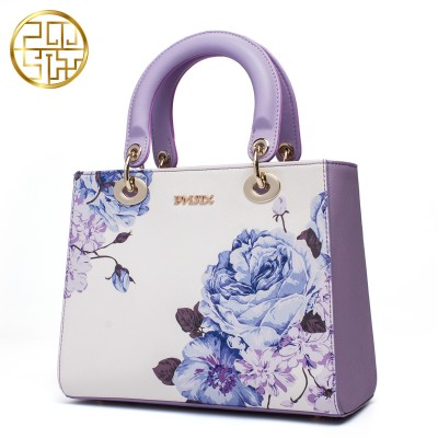 Chinese Style Designer Brand Women Bags 2019 Luxury Cow split Leather  Handbags Banquet Bags Flower Print 108202